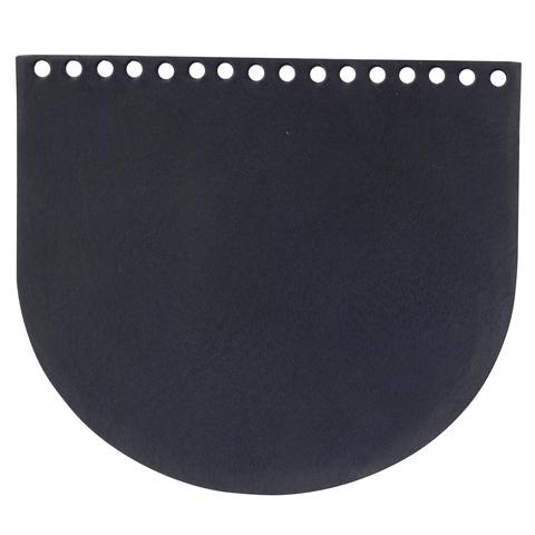 Клапан для сумочки кожаный темно-синий