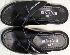 Черные босоножки шлепанцы из натуральной кожи мужские Brionis 155LB-7286 Leather Black.