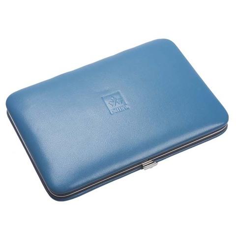 Маникюрный набор Dewal, 8 предметов, цвет голубой, кожаный футляр