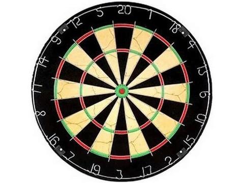 Дартс Champion Tournament. Диаметр 45см, толщина 4см. Имеет металлическое кольцо с номерами. Материал: Основа ДСП, покрытие пресованные водоросли,  стальной обод. В комплекте 6 дротиков 24гр. :(BL1818В):