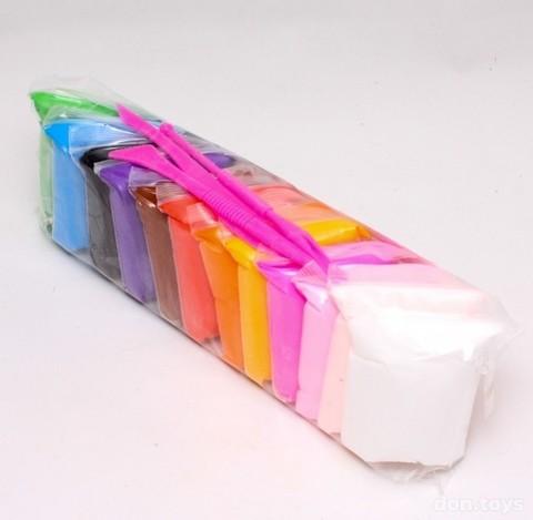 Супер Легкий Пластилин (воздушный пластилин, очень яркий, максимальный размер, русск. наклейка) - 12 шт в упаковке (ВСЕ ЦВЕТА РАЗНЫЕ) - цена за упаковку