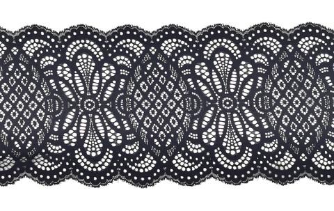 Эластичное кружево, 20 см, черное, (Арт: EK-2127), м