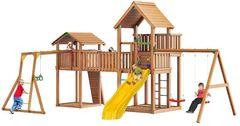 Детская площадка Jungle Palace + Jungle Cottage (без горки) +жесткий мост + Rock + Рукоход + гнездом + Swing