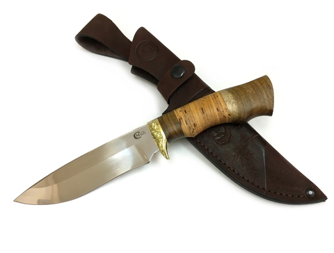 Нож Близнец, 65Х13, береста, литье
