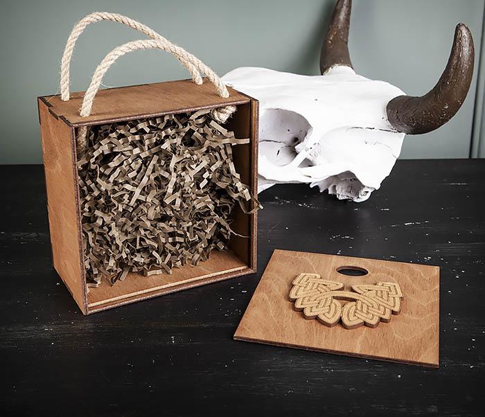 BOX217-2 Деревянная коробка с ручками с логотипом Бороды (17*17*10 см) фото 05