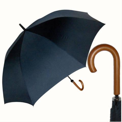 Купить большой чёрный зонт-трость с деревянной ручкой
