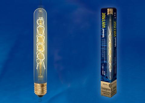 IL-V-L28A-60/GOLDEN/E27 CW01 Лампа накаливания Vintage. Форма «цилиндр», длина 185 мм. Форма нити CW. Картон. ТМ Uniel