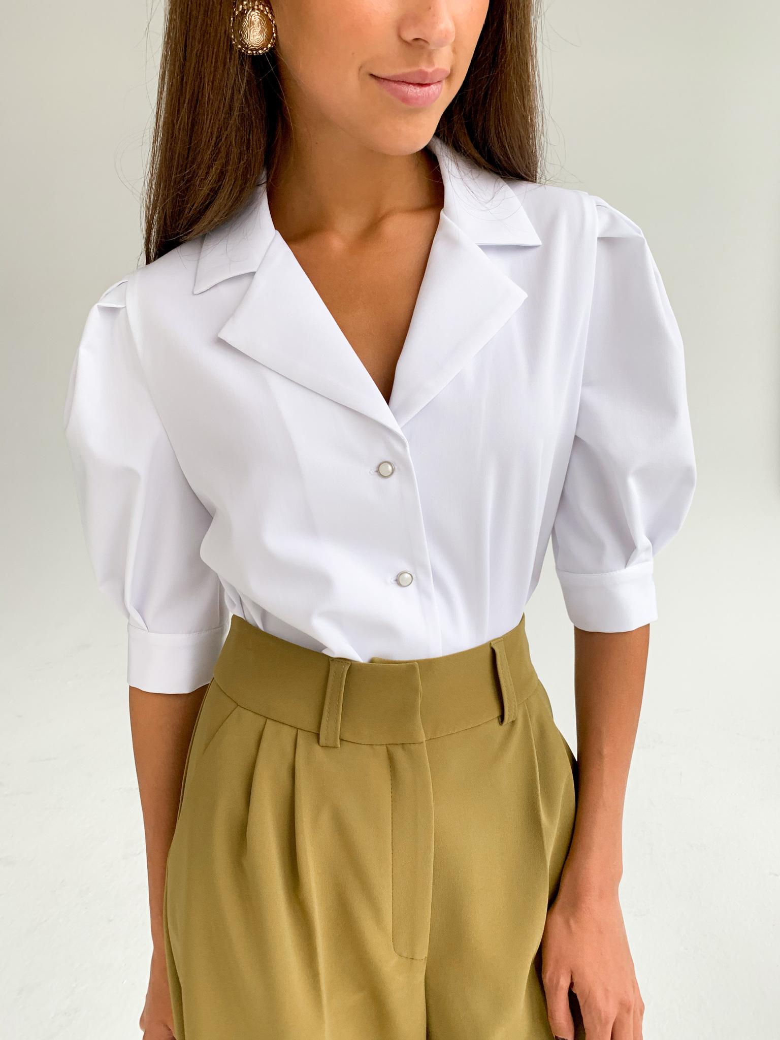 Рубашка с английским воротником и пышным рукавом (белый)