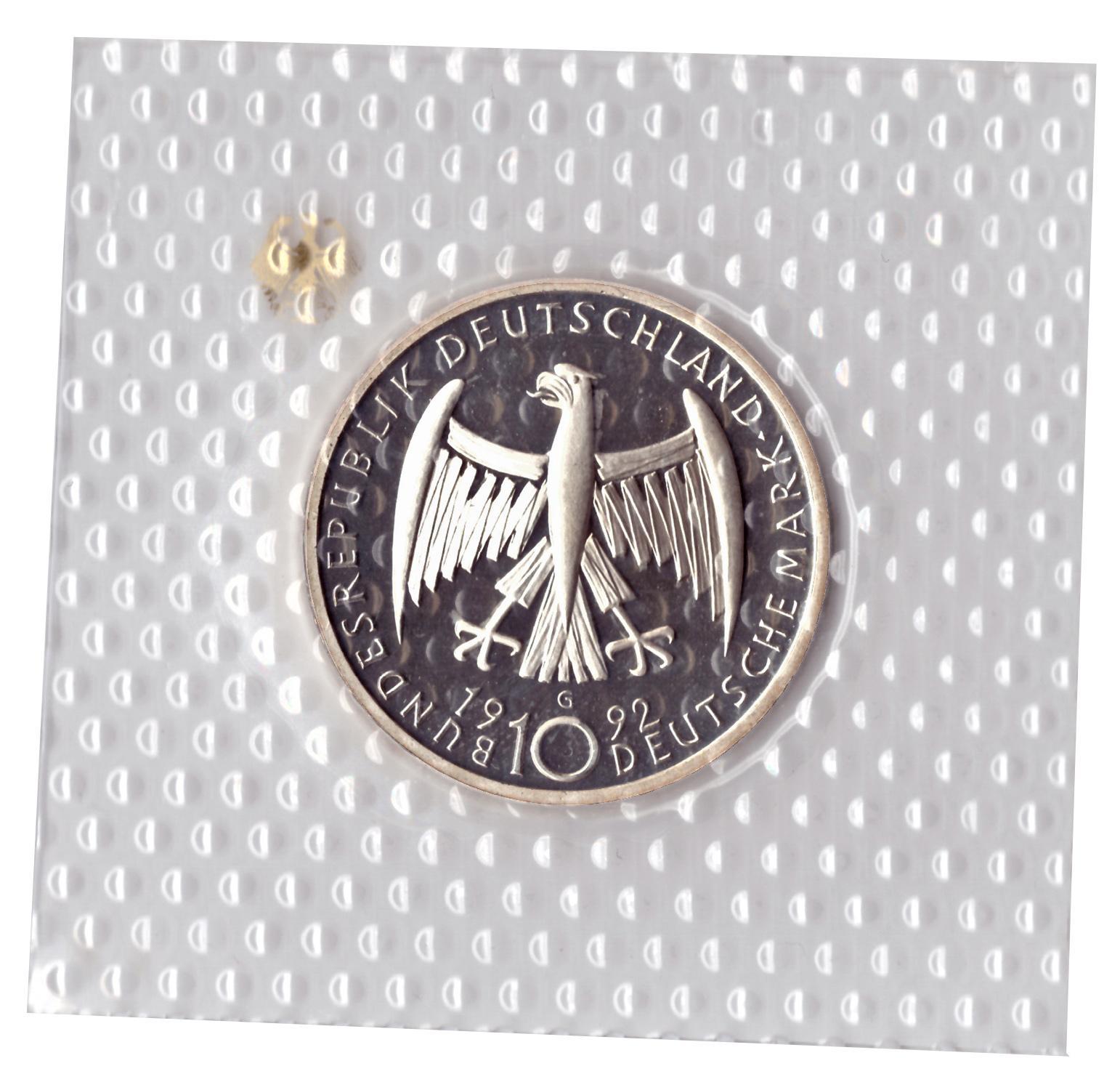 10 марок 1992 год (G) 125 лет со дня рождения Кете Кольвиц, Германия. PROOF в родной запайке