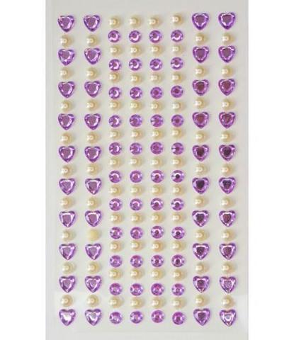 Стразы самоклеющиеся сердечки+жемчуг лиловые 152 шт