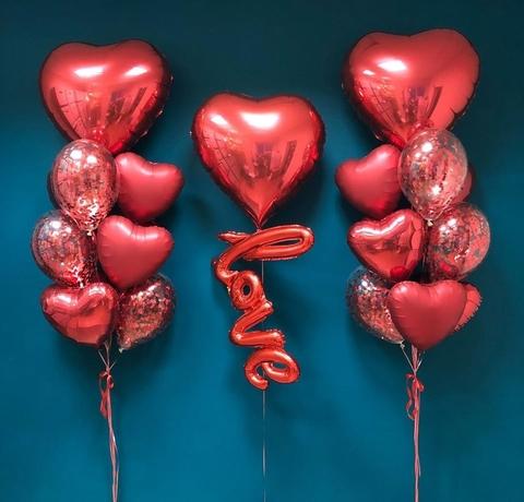 Сет воздушных шаров LOVE сердца