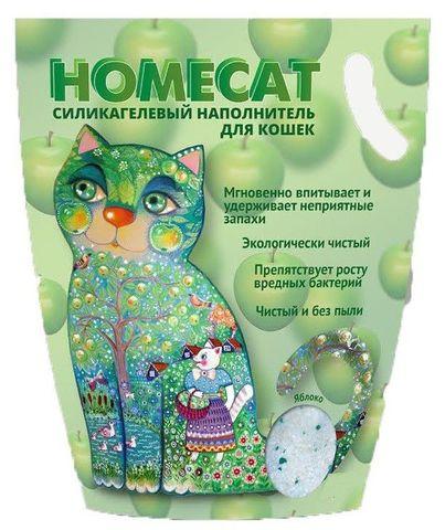 HOMECAT Яблоко силикагелевый наполнитель для кошачьих туалетов с ароматом яблока 7,6л