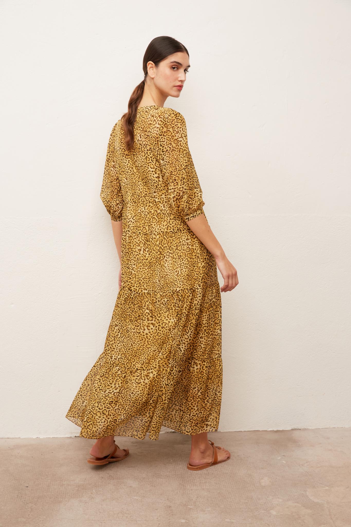 SAO - Длинное платье из хлопка и шелка с анималистичным принтом