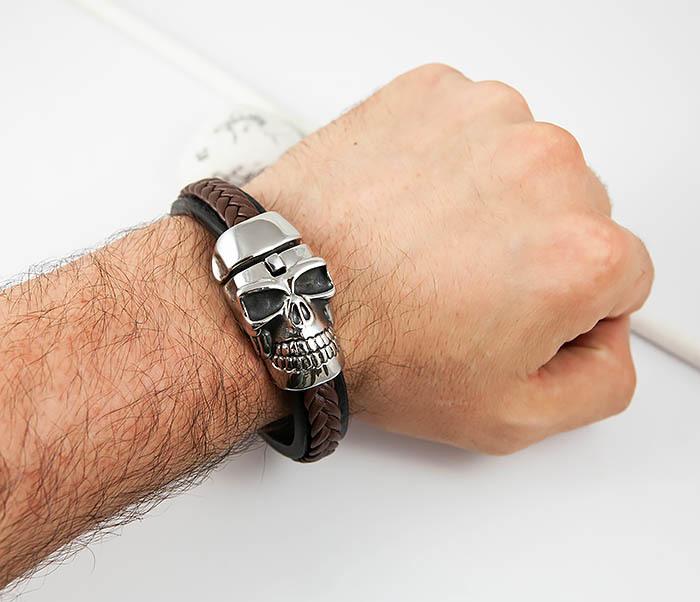BM508 Мужской браслет с огромным черепом (22 см) фото 06
