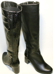 Зимние сапоги женские. Черные сапоги кожаные. Модные сапоги на каблуке Foletti.