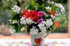 Алмазная Мозаика + Багет 40x50 Букет свежих цветов в маленькой вазе