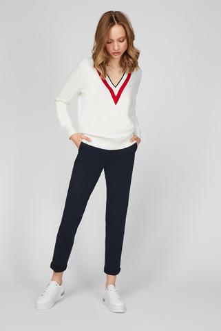 Женский белый пуловер GLOBAL STRIPE V-NK Tommy Hilfiger