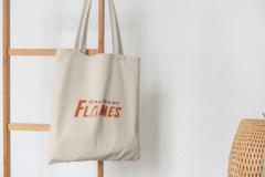 Сумка-шоппер с принтом НХЛ Калгари Флэймз (NHL Calgary Flames) бежевая 007