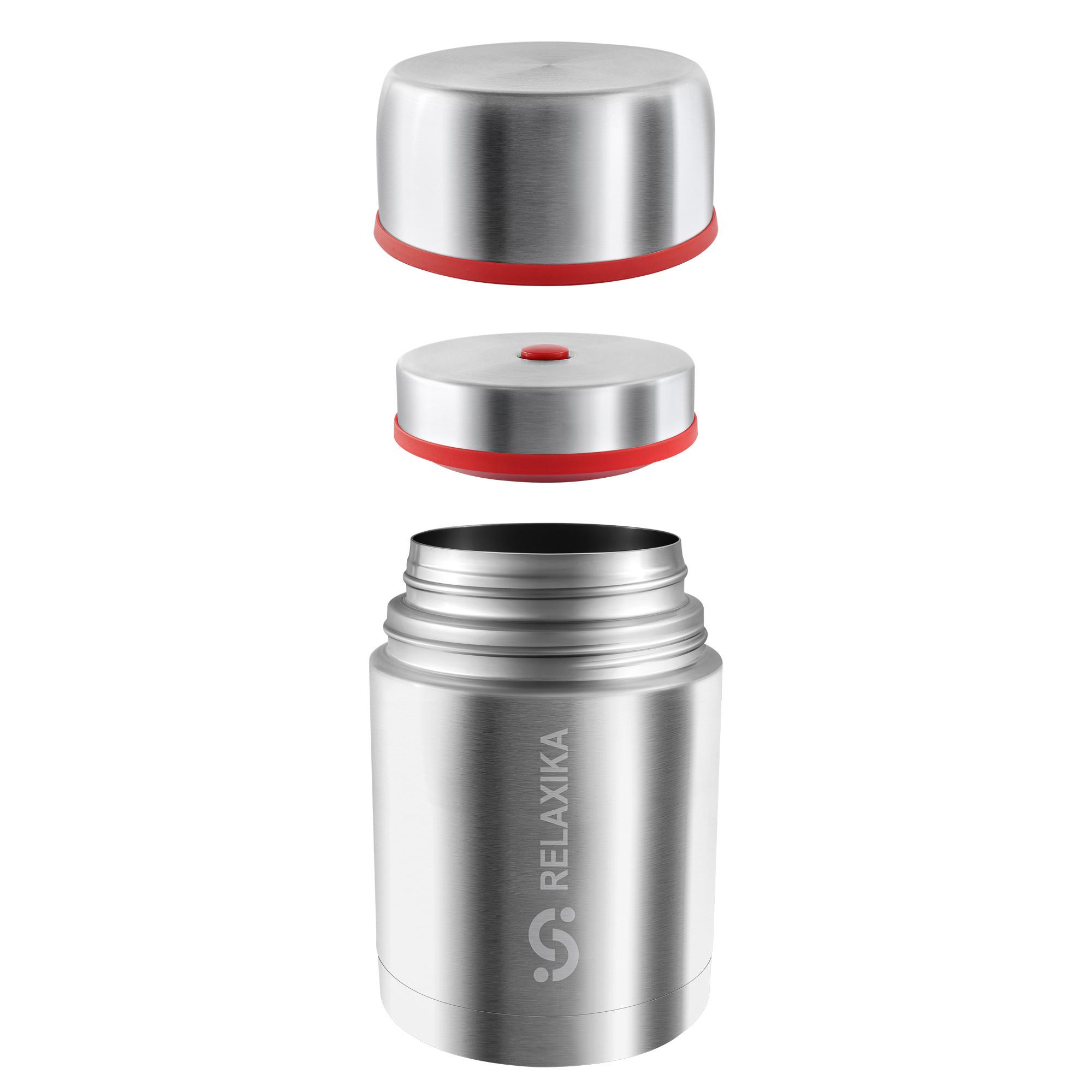 Термос для еды Relaxika 301 (0,7 литра) в чехле, стальной