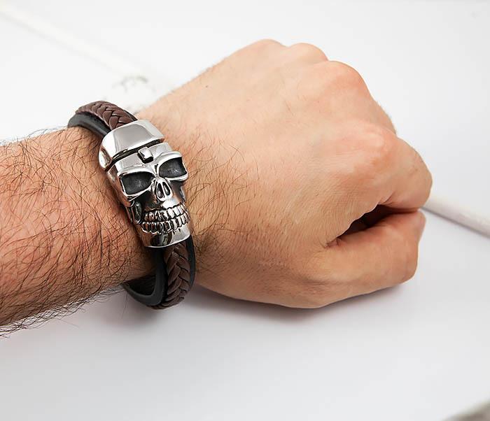 BM508 Мужской браслет с огромным черепом (22 см) фото 07