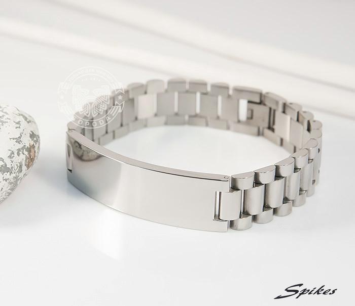 SSBQ-0009-1 Мужcкой браслет из ювелирной стали с пластиной, «Spikes» (21 см) фото 03