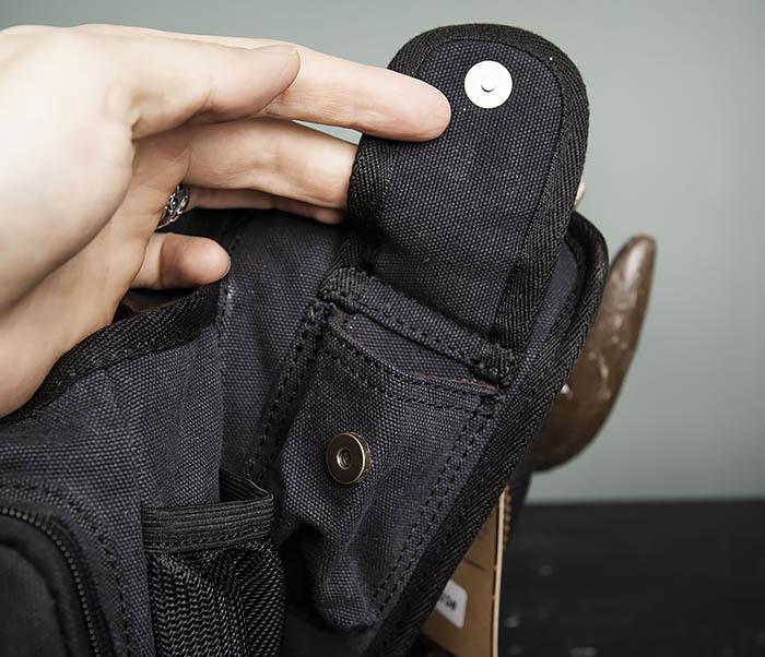 BAG307-1 Мужская сумка черного цвета из текстиля отличного качества фото 09