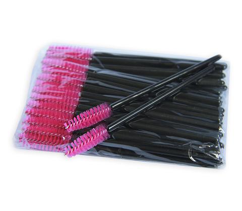 Щеточка для ресниц нейлоновая (розовая с чёрной палочкой), 50 шт.