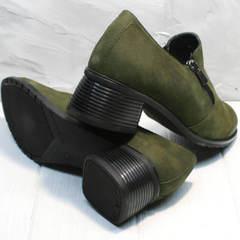 Кожаные туфли женские на каблуке 5 см демисезонные Miss Rozella 503-08 Khaki.
