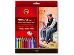Набор художественных акварельных карандашей MONDELUZ OLD MAN 48 цветов с кисточкой и точилкой в картонной коробке