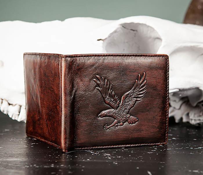 WL328-2 Портмоне с орлом из натуральной кожи фото 04
