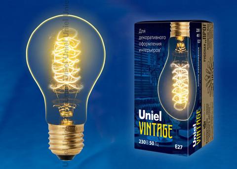 IL-V-A60-40/GOLDEN/E27 CW01 Лампа накаливания Vintage. Форма «A». Форма нити CW. Картон. ТМ Uniel