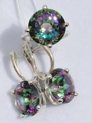 Корона-мистик (кольцо + серьги из серебра)