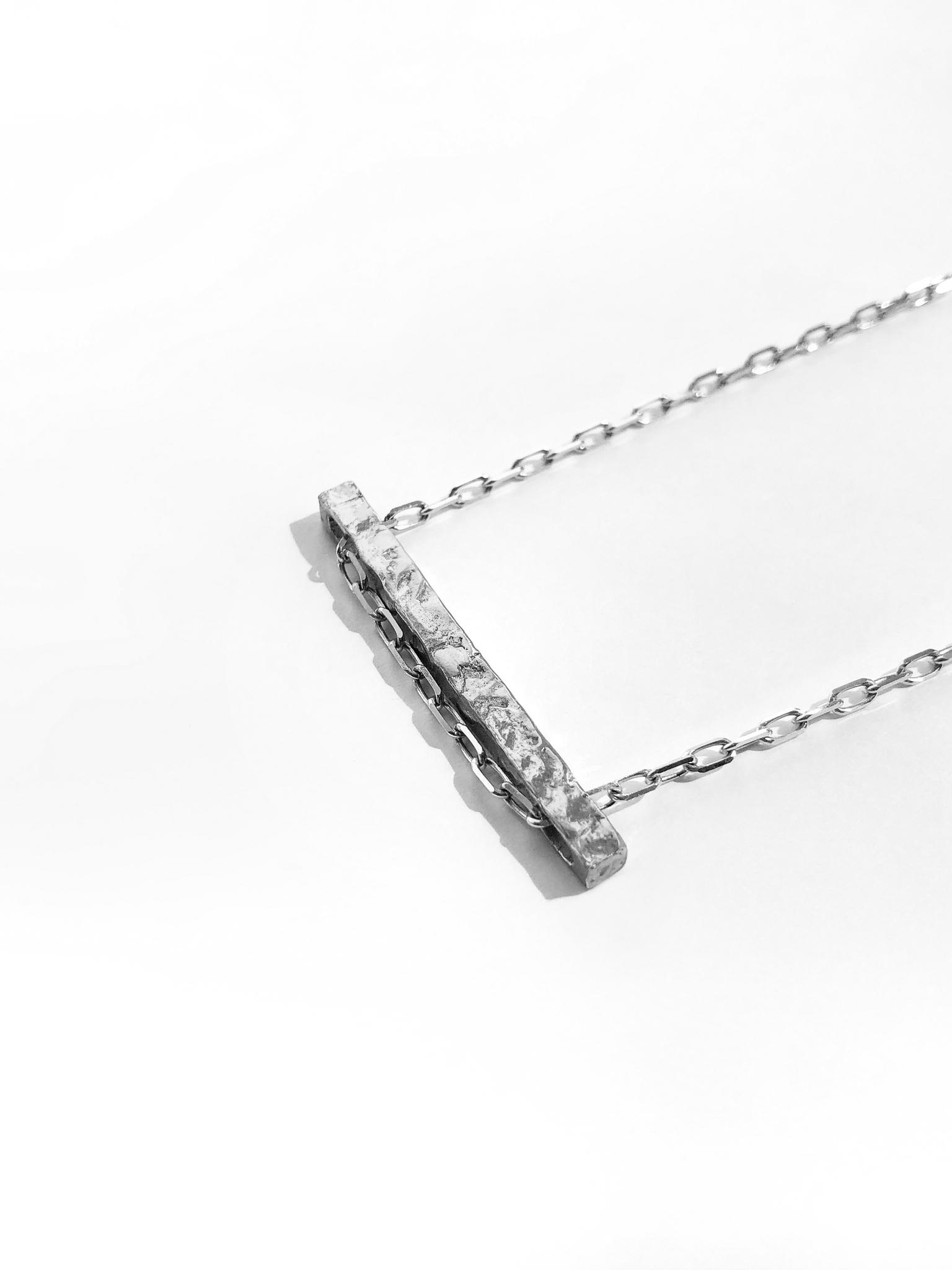 Серебряное колье-брусок