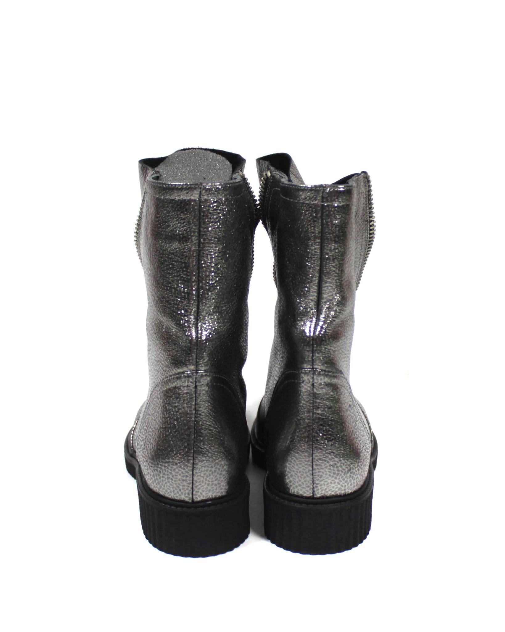 серебристые ботинки SM