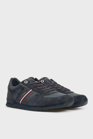 Мужские темно-синие кроссовки ICONIC SUEDE RUNNER Tommy Hilfiger