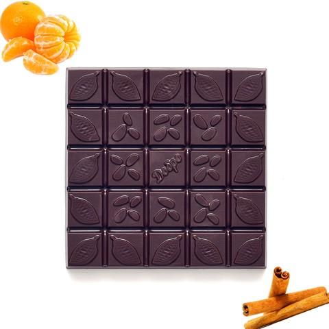 Шоколад ремесленный горький на меду, с мандарином и корицей, 72% какао, 90 г