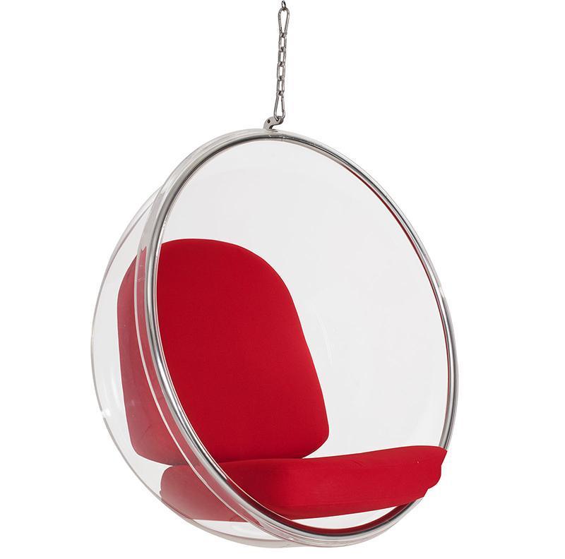 Кресло Eero Aarnio Style Bubble Chair красные подушки - вид 2