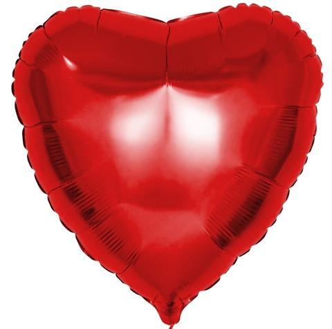 Фольгированный воздушный шар сердце, красный, 46 см
