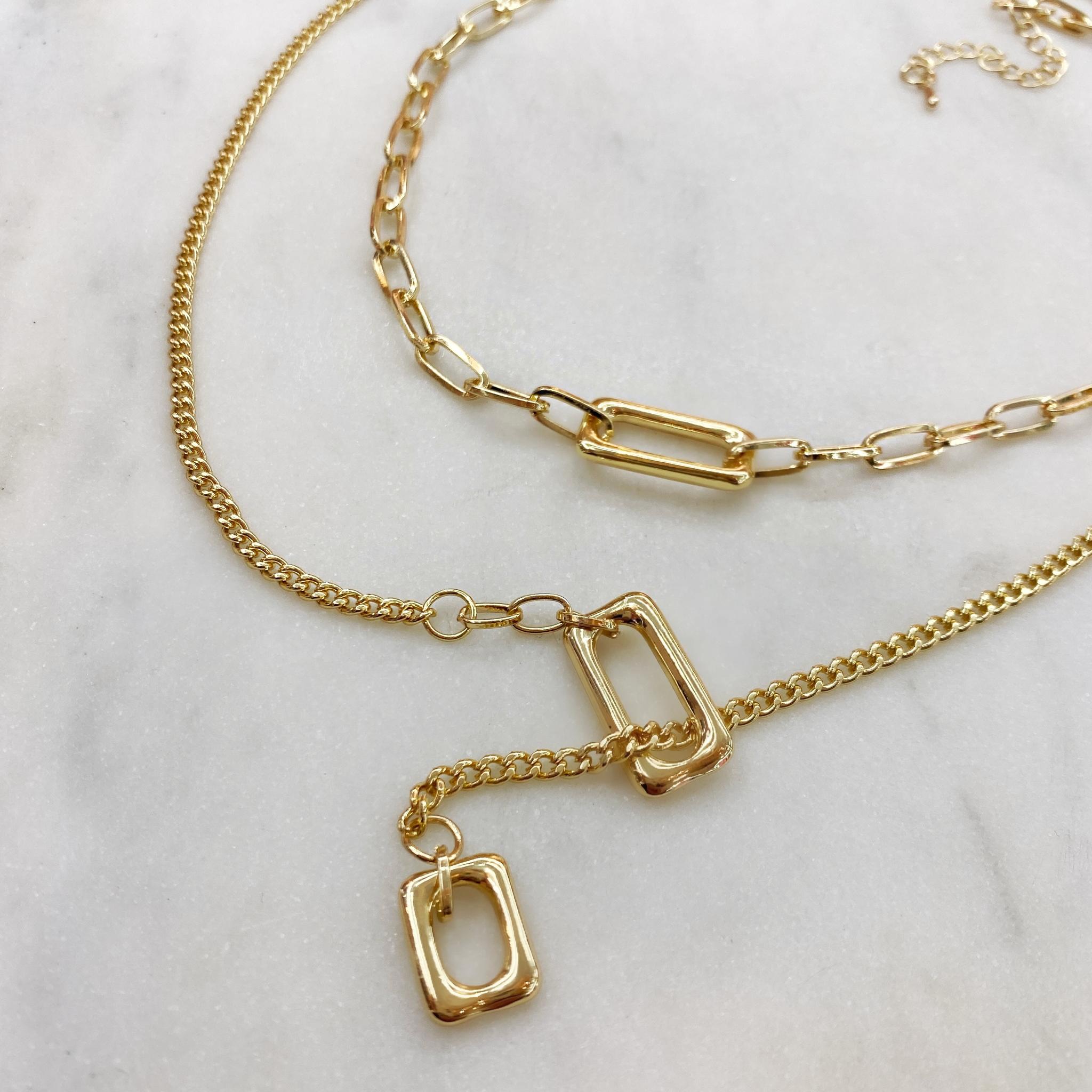 2-в-1 цепи с прямоугольными подвесками (золотистый)