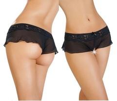 Эротические прозрачные шортики с интимным вырезом (черные)