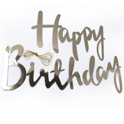 Гирлянда-буквы, Happy Birthday, Серебро, 200 см