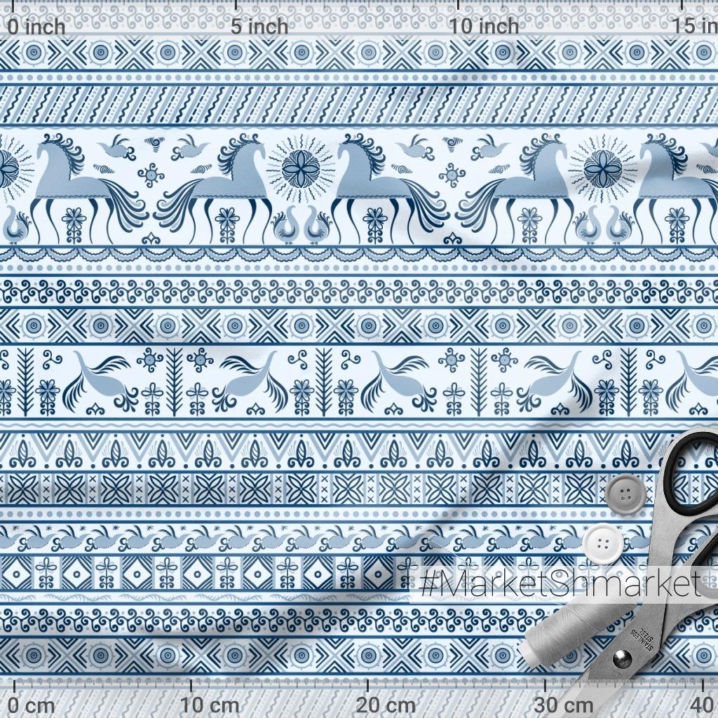 Лошади, птицы, солнце, цветы. Мезенская роспись в голубых тонах. (Дизайнер Irina Skaska)