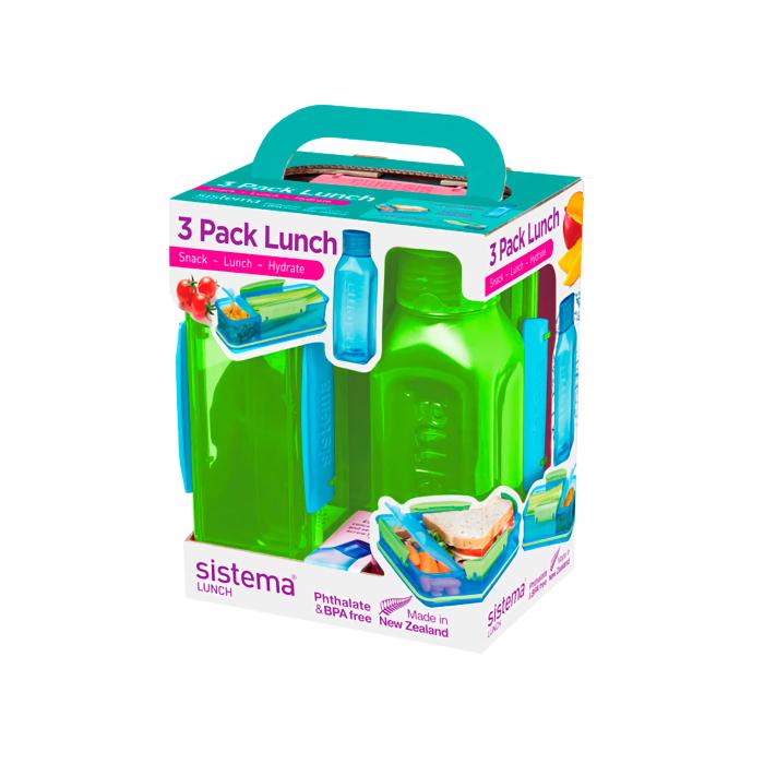 "Набор Sistema ""Lunch"": 2 ланч-бокса и бутылка, цвет Зеленый"