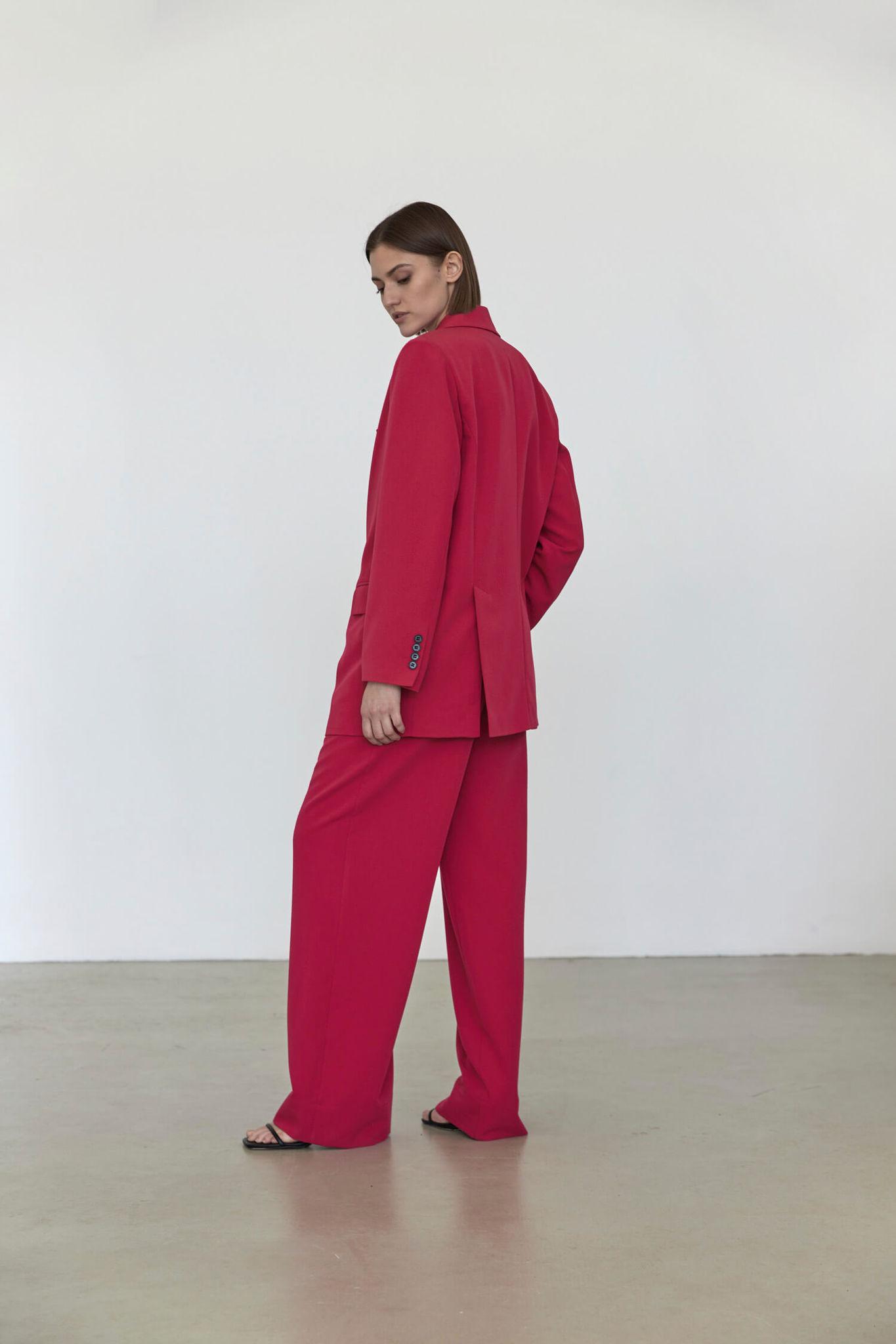 Широкие брюки с двумя складками,  фуксия