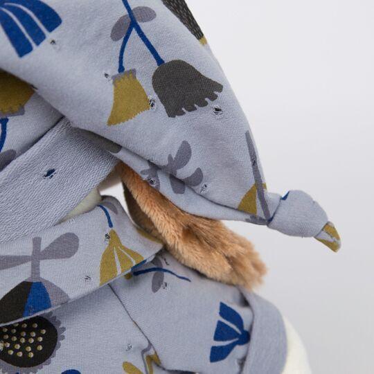 Пес Бартоломей в голубой пижаме в цветочки