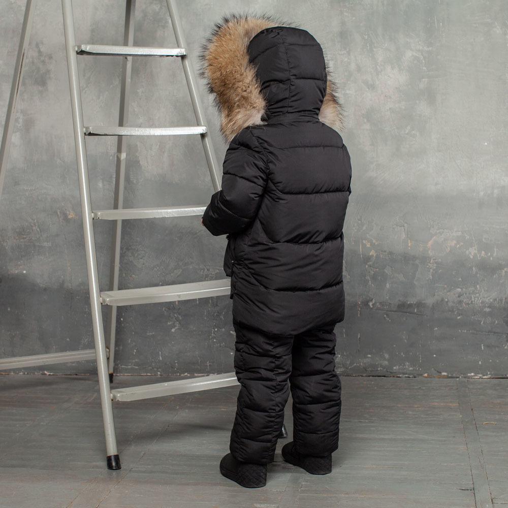 Дитячий зимовий костюм чорного кольору з водовідштовхувальної плащової тканини