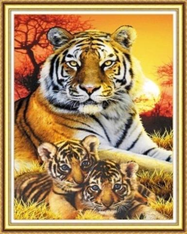 Алмазная Мозаика 40x50 Тигр охраняет детей (арт. WXSA1907)
