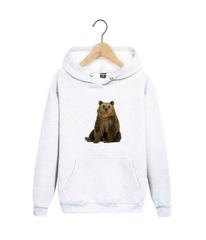 Толстовка белая с капюшоном (худи, кенгуру) 0011 и принтом Медведь, Медвежонок (Bear)
