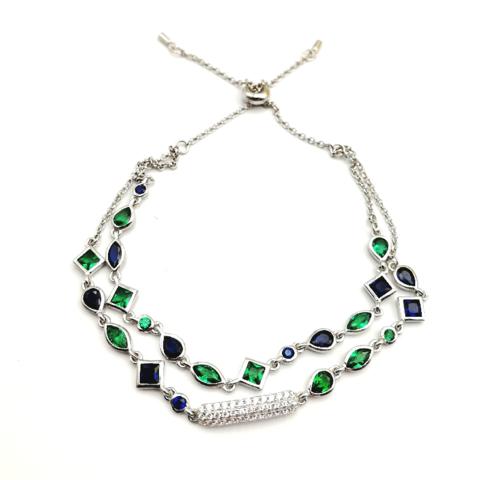 35690 - Двойной браслет  из серебра с цветными кварцами