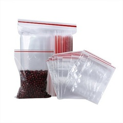 Пакеты зип лок с красной полосой 15х22 прозрачный